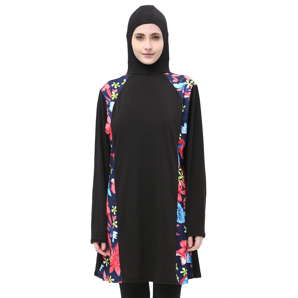 Muslim Swimsuit Plus Size Islamic Swimwear Women Full Face Hijab Swimwear Burning Islam Swimsuit with Flowers Clothing Burkinis