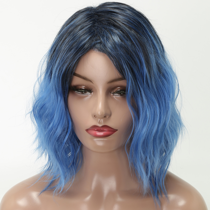 LISI HAIR 12 Inch Short Hair Wig For Woman Wavy Hair Synthetic Wigs High Temperature Fiber Wigs Black Ombre Blue Cosplay
