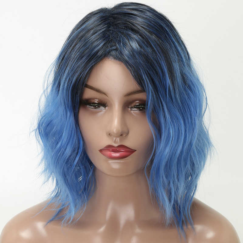 Lisi Hair 12 Inch Short Hair Wig For Woman Wavy Hair Synthetic Wigs High Temperature Fiber Wigs Black Ombre Blue Cosplay Synthetic None Lace Wigs Aliexpress
