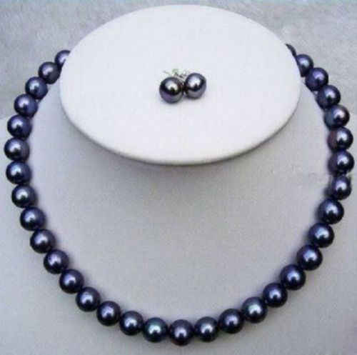 BEAUTIFUL AAA 8-9mm south sea black pearl necklace 17 inches + earrings