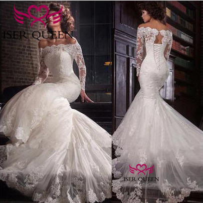 Boat Neckline Vintage See-through Long Sleeves Wedding Gown Delicate Embroidery with Tulle Court Train Lace up Mermaid w0617
