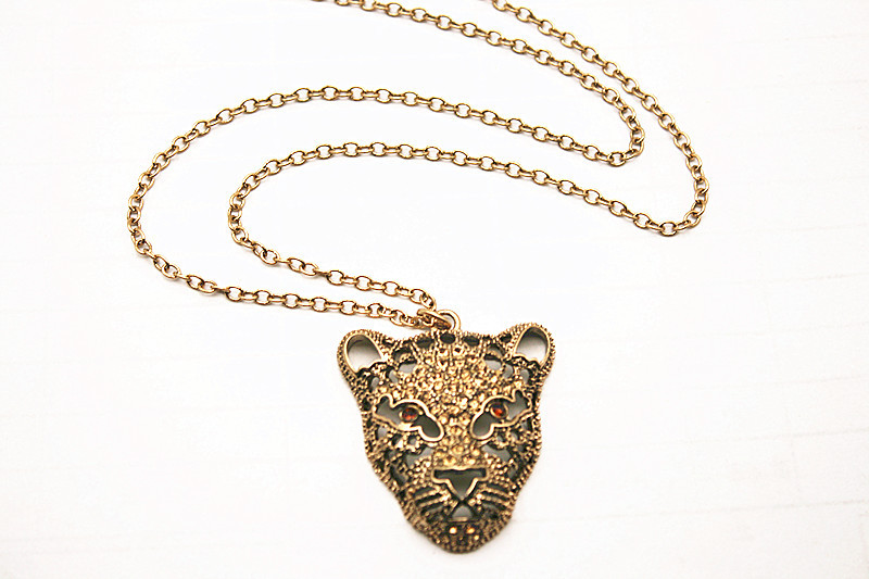 Top Quality Big Name Leopard Head Sweater Necklace Jewelry Crystal For Women Long Necklace Pendants Rhinestone Chain Gift 2019