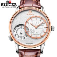 Switzerland watches men Luxury brand BINGER Quartz Watches Leather Strap Waterproof Double Timezone Sapphire Clock BG-0389-5
