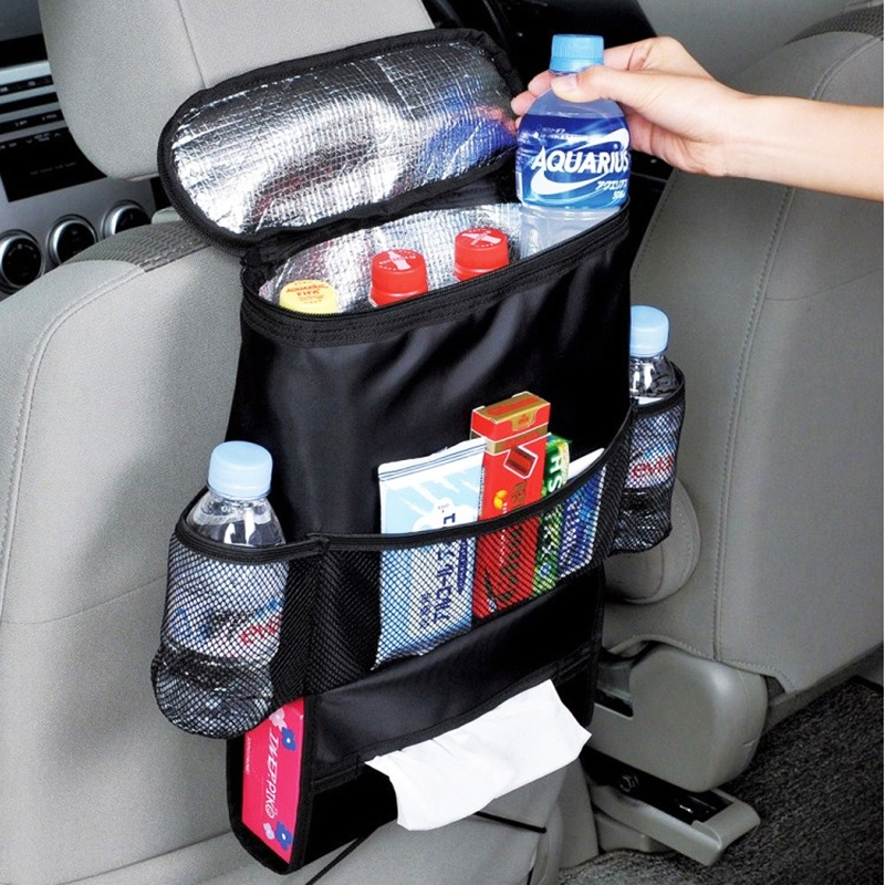 Black Car Back Seat Organizer Storage Bag Car Hanging Bag Multi-Pocket Auto Car Storage Tissue Box Car-styling