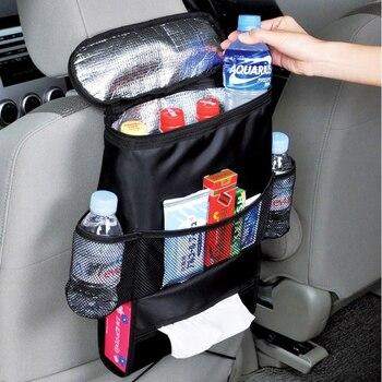 Black Car Back Seat Organizer Storage Bag Car Hanging Bag Multi-Pocket Auto Car Storage Tissue Box Car-styling