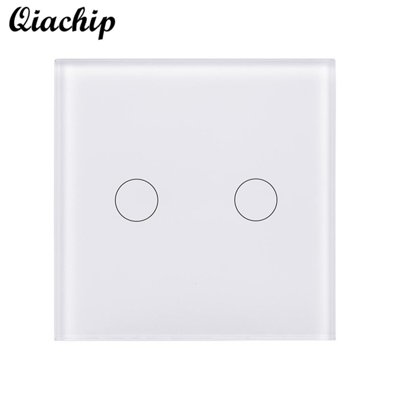 QIACHIP UK WiFi Smart Home Switch Timing Touch Tempered Glass Panel Touch Switch Remote Control Switch Work With Amazon Alexa us standard 1gang 1way remote control light touch switch with tempered glass panel 110 240v for smart home hospital switches