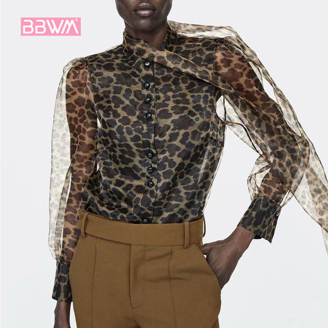 d900f3d4b1ba9e 2018 spring new women's casual trend animal print stamp bow blouse female  shirt Leopard print tops