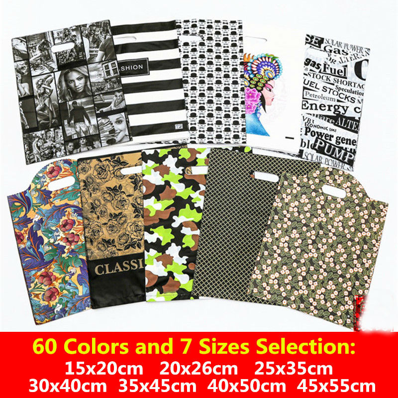 10pcs 15x20 20x26 25x35 30x40 35x45cm Shopping Plastic Bags With Handles Gift Bags Jewelry Cookies Bigs Supermarket Clothes Bags