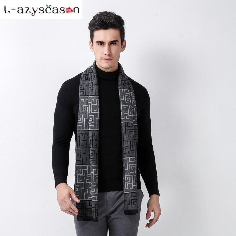 Neue Ankunft Fashion brand Design männer Winter Schals Warme hijab Männlichen Neck Schal Druck mann Business Geschenk lange größe 180X35 cm