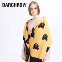 DARCHROW Luxury Brand Cute Bear Scarf Cozy Cashmere Scarves Winter Warm Pashmina Bandana Shawl Scarf For