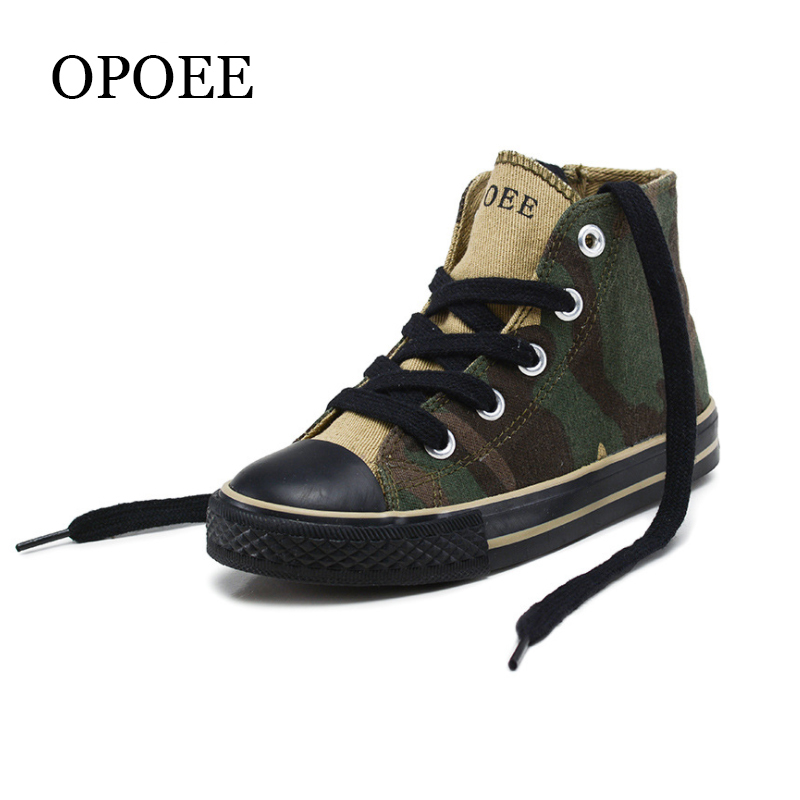 Children's shoes Boys and Girls high-top Canvas Shoes 2018 Spring and Autumn Camouflage Handsome Shoes girls cut and sew top