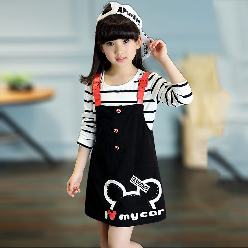 girls clothes striped long-sleeved T-shirt+strap skirt two-piece suits,spring cartoon fashion children clothing Kids sports suit 2016 new children s clothing boys long sleeved t shirt large child bottoming shirt spring striped shirt tide