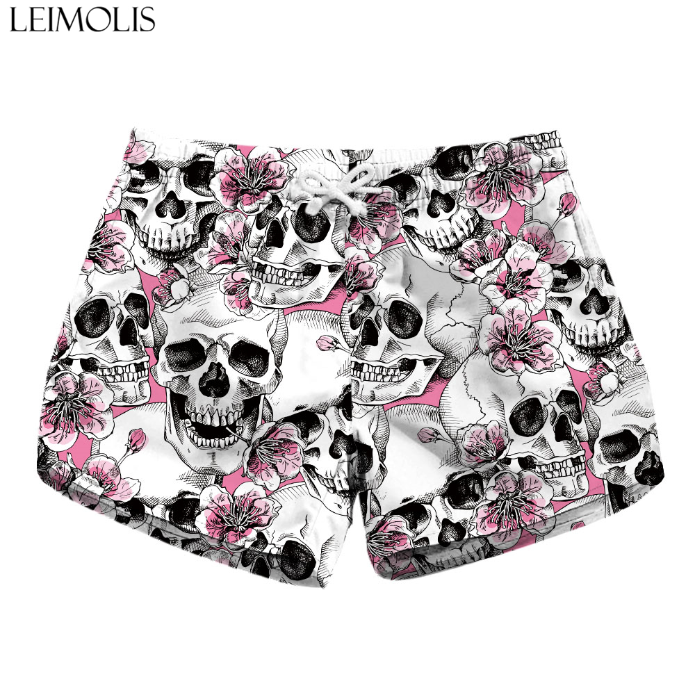 LEIMOLIS Flower Skull Black Gothic Print Summer Sexy Ladies Casual Bohemian Streetwear High Waist Shorts Women