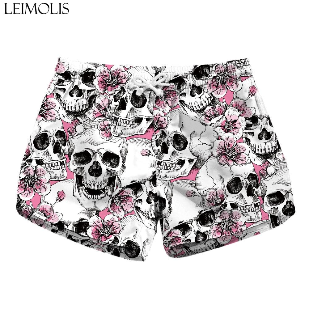 LEIMOLIS Flower Skull Black Gothic Print Summer Sexy Ladies Casual Bohemian Streetwear High Waist Shorts Women