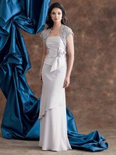 M-1 Elegant Grey Long Ruffle Chiffon Mother Of The Bridal Dress