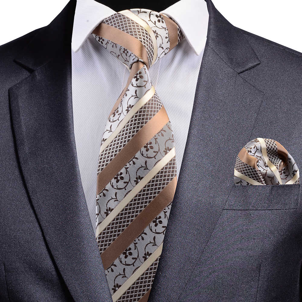 Gusleson nova qualidade floral casamento gravata moda xadrez listrado paisley seda gravata e bolso quadrado conjunto para festa de negócios