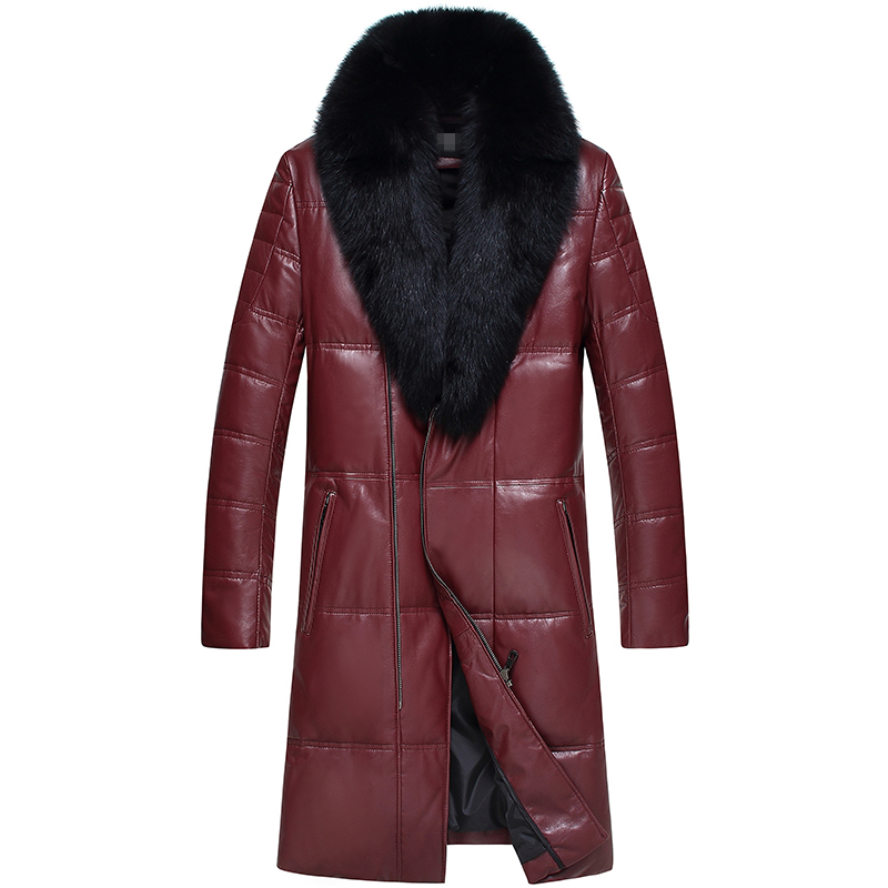 Leather jacket sheepskin coat men genuine leather down jacket fox fur collar medium long free shipping New Phoenix 1209J