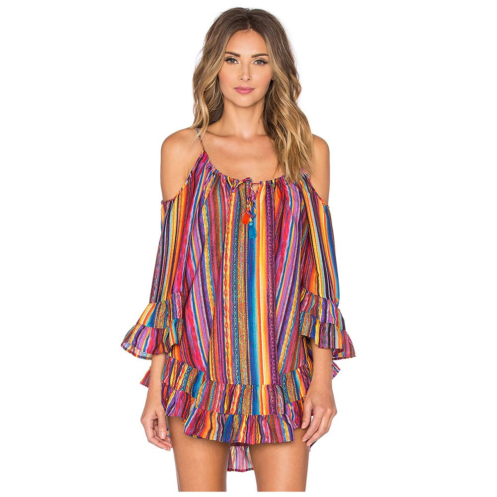 Women s New Fashion Summer Rainbow Digital Printing Harness Dress Sundress Clothing Beach Dress Multicolor S