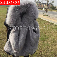 HOT 2016 Winter new trend girls prime quality gary fox fur raccoon fur collar military inexperienced quick part of unfastened black parka&XXL
