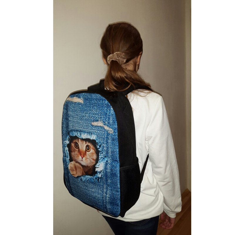 preto impressão mochilas para meninas Abacamento / Decoração : Nenhum