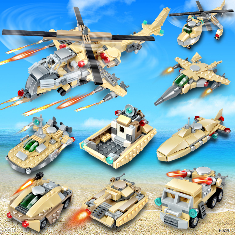 GUDI Military Educational Building Blocks Toys For Children Kids Gifts Cars Boat Compatible With Legoe