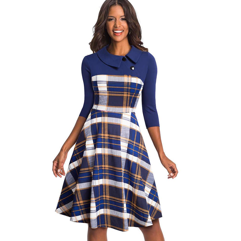 Женское винтажное деловое платье Nice-forever, расширяющееся книзу платье-колокол разных цветов с отогнутым воротником, пуговицами и свободным кроем, 2019