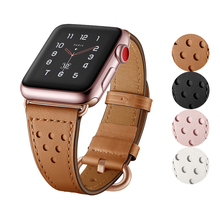 Genuine Leather watch strap for apple watch 4 band 44mm 42mm 38mm belt high quality bracelet for iwatch series 4/3/2/1 40mm leather band for apple watch 40mm 44mm series 4 high quality mixed color replacement strap for iwatch series 1&2&3 38mm 42mm