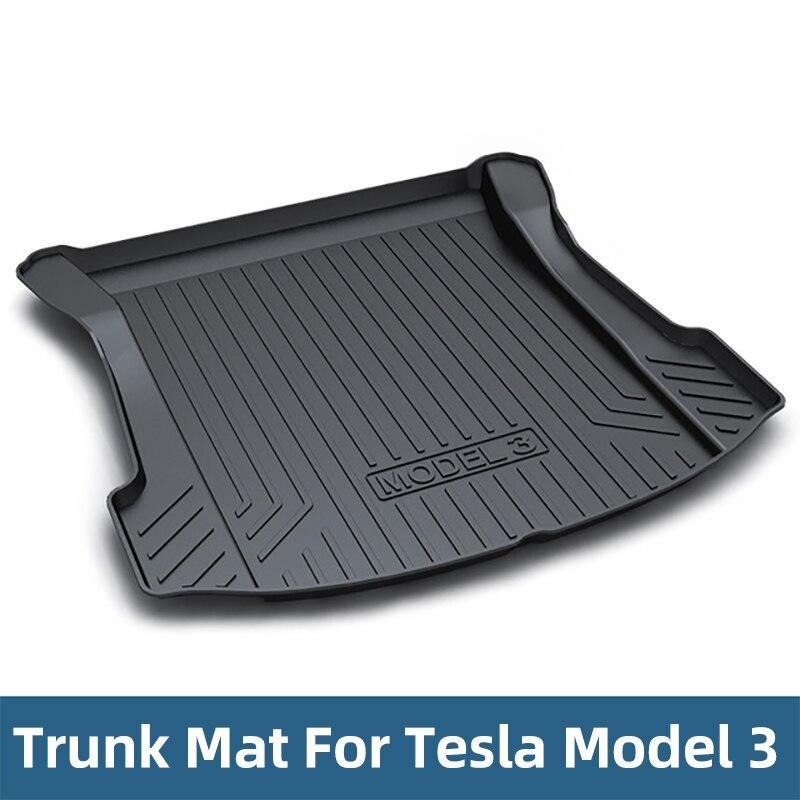 Tapis de coffre en caoutchouc TPO pour Tesla modèle 3 2017 2018 2019 accessoires de voiture noir tapis de sol de coffre de voiture