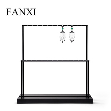 FANXI Metal Jewelry Display Rectangle Earring Stand Installable Ring Holder Set Organizer Shelf for