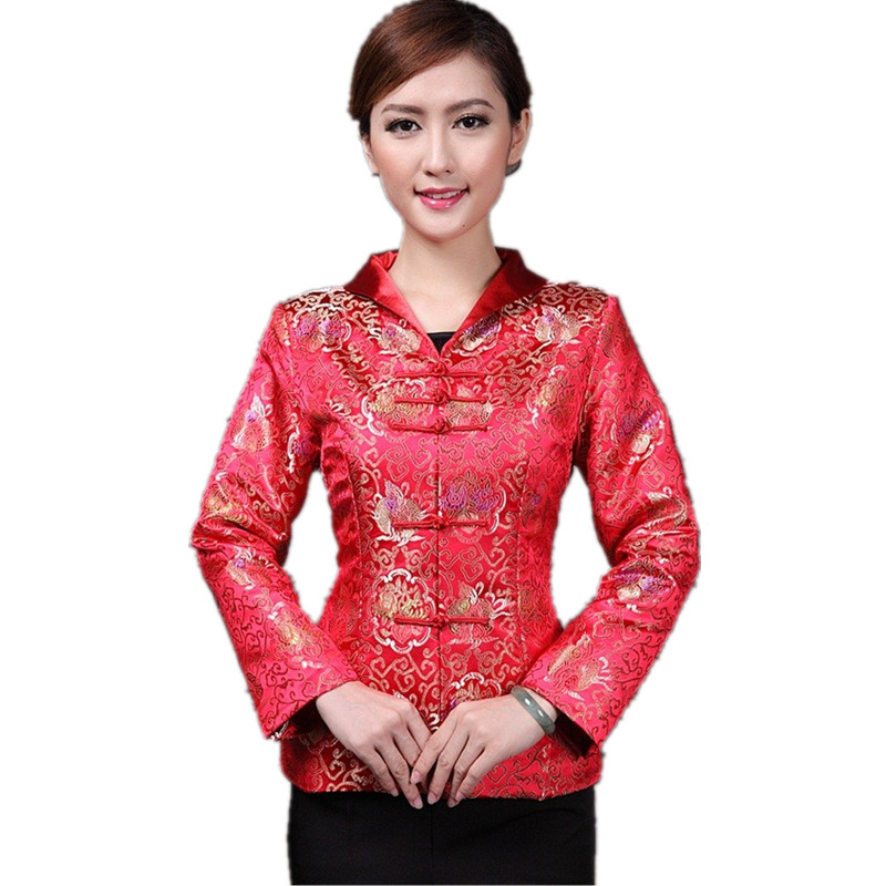 Hottest Chinese Style Lady Silk Satin Overcoat Vintage Turn-down Collar Jacket Single Button Coat Tang Suit Size S To 4xl Jackets & Coats