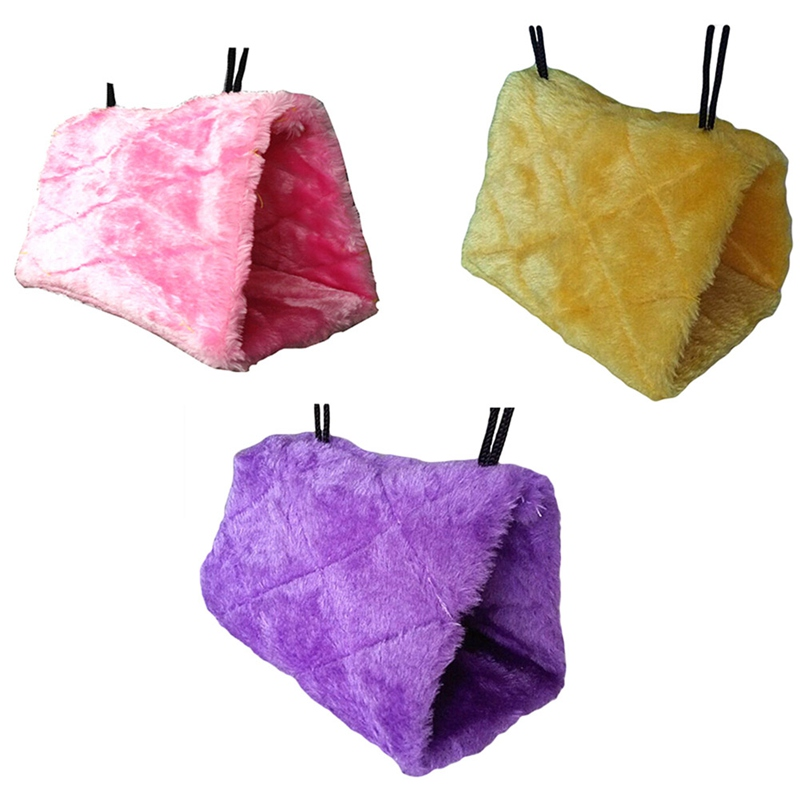 Colorful Warm Cotton Bird Nest Hanging Hamster Hammock Geometric Plush Birds Nest Cave Cage Hut Tent Bed Bunk Parrot Toy