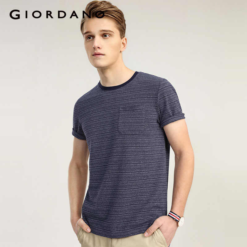 f43343a4e5b2 Giordano Men Pocket T-Shirt Crewneck Summer T Shirt Men Satin Yarn Tee For  Men