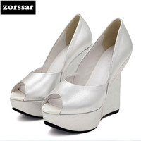 {Zorssar} 2018 NEW Genuine Leather womens Wedges shoes Peep toe High heels Platform pumps ladies Party wedding shoes Silver