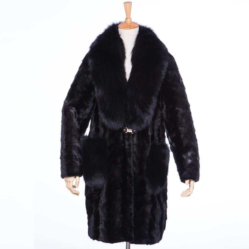 Luxe Manteau long Vêtements Picture as X Renard Tranché Vison Hiver De Lf5170 Black Femmes Fourrure Véritable D'extérieur 3xl Col Taille Grande 51qwBW