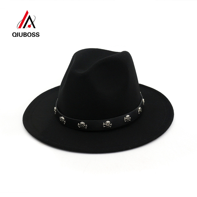 5b2ddbfb3b1dd QIUBOSS Vintage Wool Felt Wide Brim Gambler Fedora Hat Skull Rivet Leather  Decoration Men Women Panama