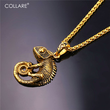 Collare Chameleon Pendant Dragon Men Iguana Jewelry 316L Stainless Steel Lizard Gold Color Animal Iguana Necklace Women P112
