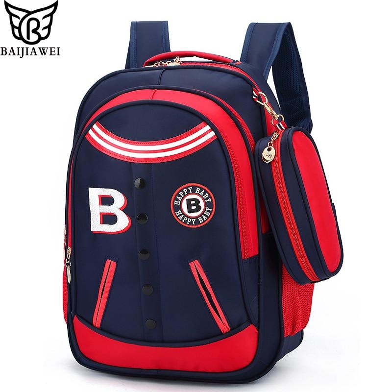 BAIJIAWEI Hot Sale School Bags For Children Kids Fashion Backpack Primary School Bag For Boys Girls Waterproof Schoolbags