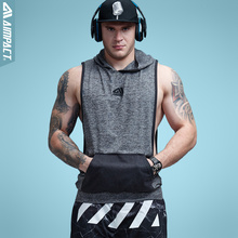 Aimpact Men's Tank Top Sleeveless Hoodie Fitness Bodybuilding Muscle Cut Stringer Crossfit Workout Tops Activewear Male AM1008