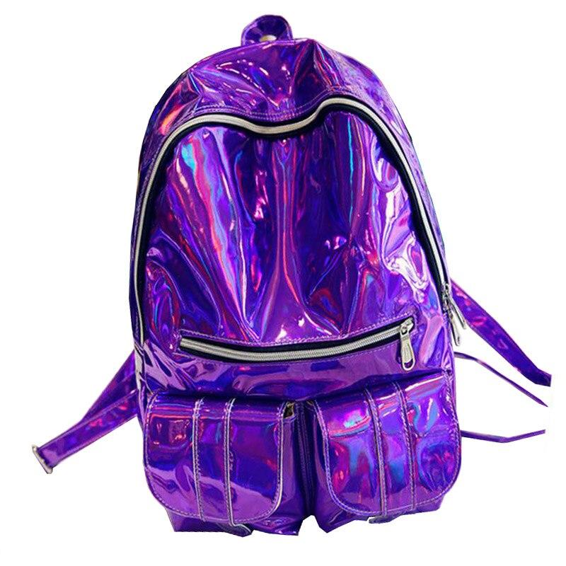 2018 Women Hologram Laser Leather Backpack Holographic Transparent Backpacks  Sac a Dos School Bag For Teenagers Travel Rucksack