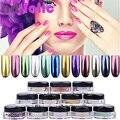 2g Caja de Espejo Cromo pigmentos de Efecto de Uñas Brillante Magia cromo pigmento glitter powder uñas Camaleón