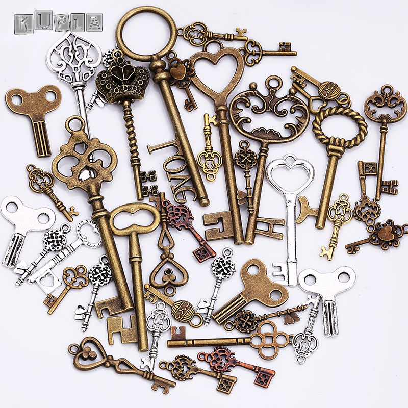 Metal mixed charms key shape pendant charms for jewelry for Handmade decoration pieces