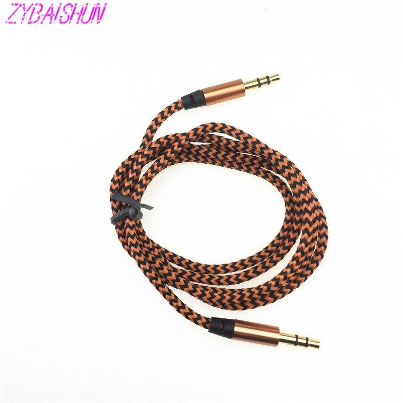 1 m нейлон Jack аудио кабель 3,5 мм разъем Aux автомобильный шнур для Volkswagen Polo Tiguan Golf Passat CC R20 R36 EOS Skoda Octavia, Fabia