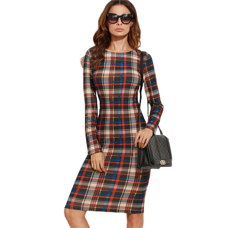 f5a9cebcd Shein elegante bodycon dress otoño invierno dress otoño 2016 multicolor a  cuadros de manga larga hasta la rodilla lápiz dress en Vestidos de Ropa y  ...