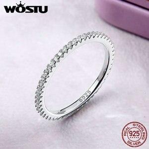 Image 2 - Wostu Modieuze Stapelbaar Ring 100% 925 Sterling Zilveren Cirkel Geometrische Ringen Zirkoon Voor Vrouwen Bruiloft Sieraden Gift FIR066