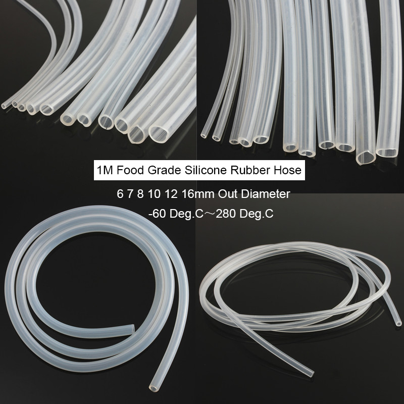 1M Food Grade Silicone Hose Transparent Silicone Tube 6 7 8 10 12 16mm Out Diameter Flexible Tube Silicone Rubber Hose