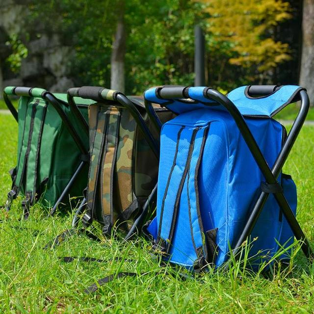 Outdoor Fishing Chair Bag Folding Camping Stool Portable Backpack Cooler Insulated Picnic Bag Hiking Seat Table Bag Bear 150KG 6