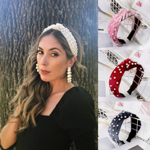 Simulated Pearl Hair Knotted Velvet Hair Band Wide Headbands Hairbands Headwear 2019 New customized Hair Accessories