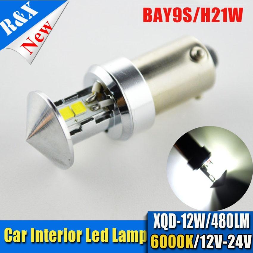 1x BA9S T4W BAX9S H21W BAY9S 12W LED brake light car Backup Reverse Lights Rear Fog lamp Indicator Turn Corner Bulb white 12V