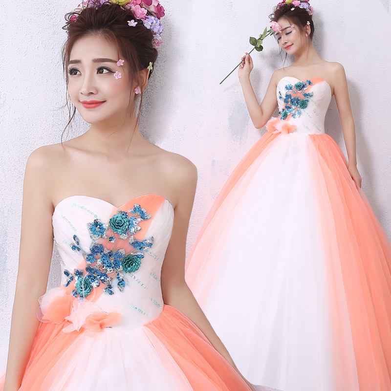free ship blue sequined embroidery white orange veil ball gown cosplay medieval dress/dance/stage performance