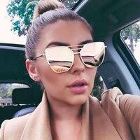 Coodaysuft Mirror Sunglass Fashion Brand Designer Cool Sun Glasses Wholesale Female 2017 New Cateye Flat Top